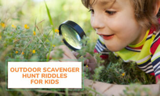 A collection of outdoor scavenger hunt riddles for kids.
