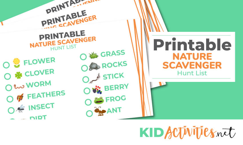 graphic relating to Printable Kid Activity titled Printable Mother nature Scavenger Hunt Listing 121 Character Merchandise