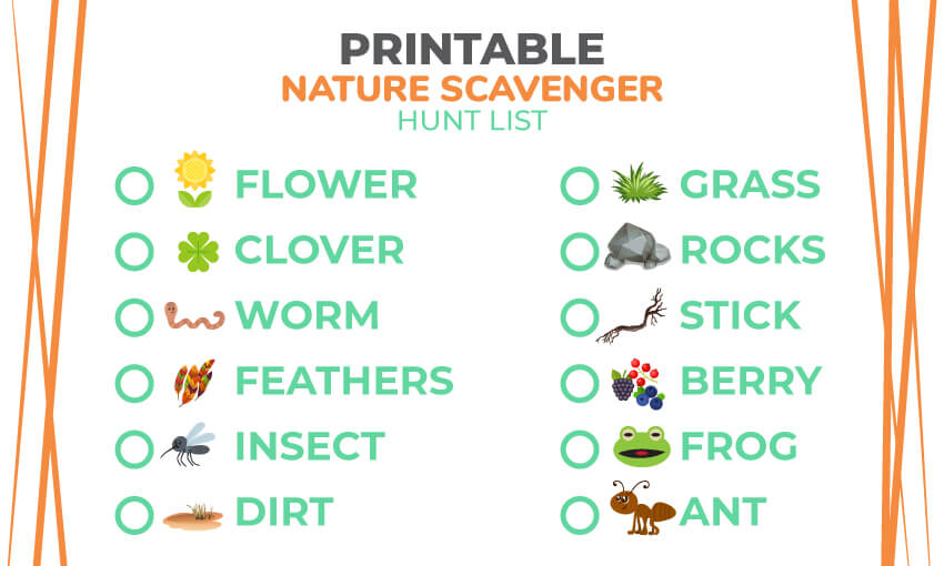 Scavenger Hunt List >> Printable Nature Scavenger Hunt List 121 Nature Items
