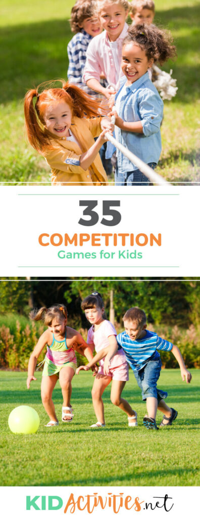 A collection of competition games for kids. These fun indoor and outdoor competition games for kids.