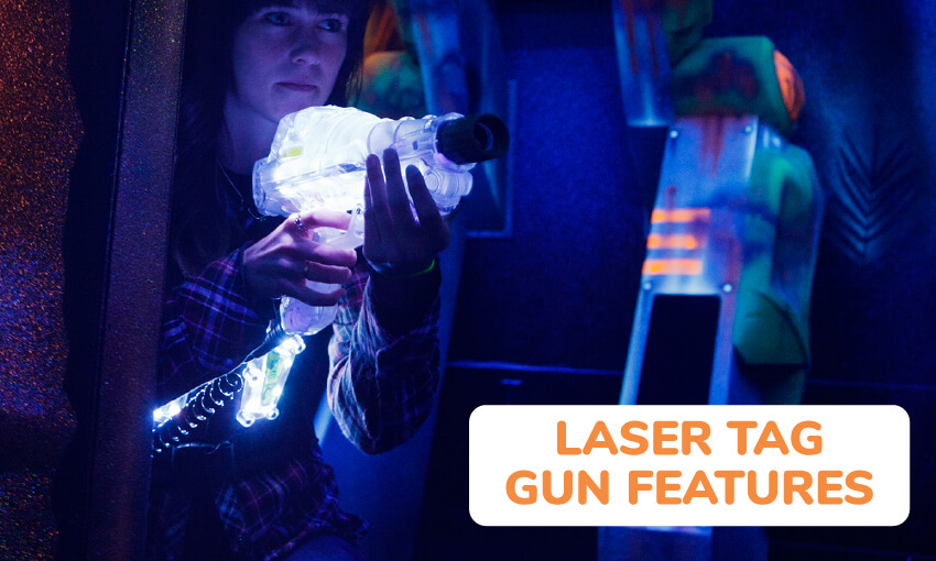 What are some of the laser tag gun features available?