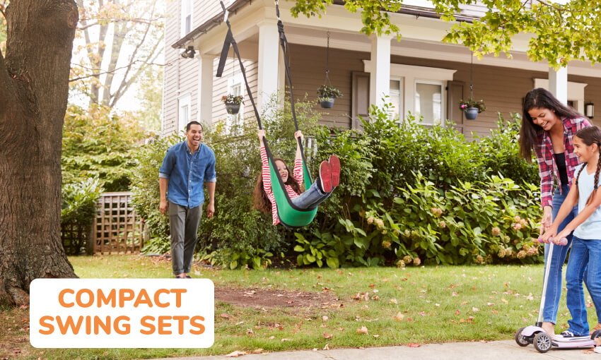 Compact swing sets for small yards.