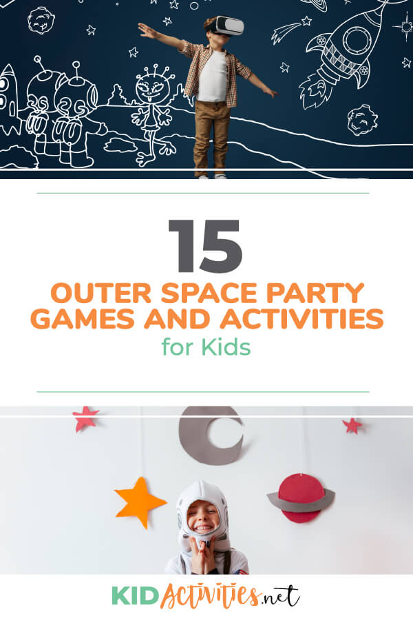 A collection of outer space party games and activities for kids. Great for your little astronauts birthday party or a space themed day in the classroom.