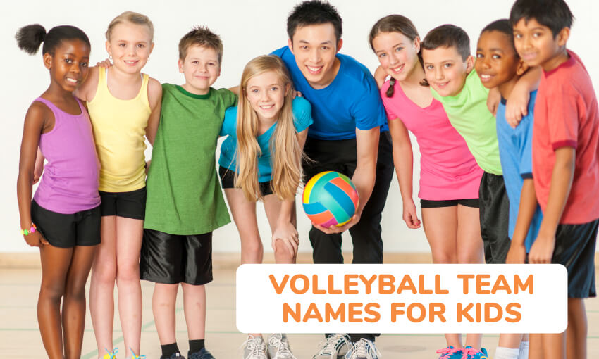 A collection of volleyball team names for kids.