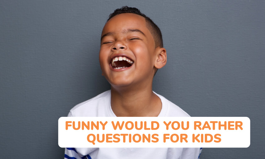 A collection of funny would you rather questions for kids.
