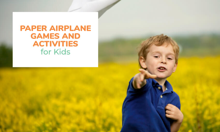 A collection of paper airplane games and activities for kids.