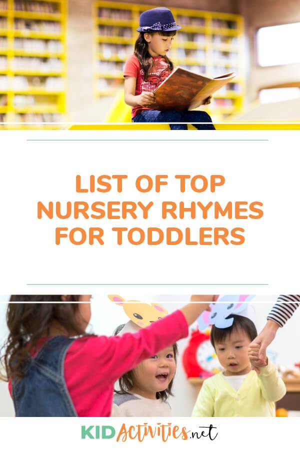 List of top nursery rhymes for toddlers
