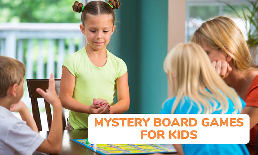 A collection of mystery board games for kids.